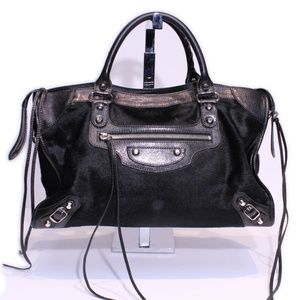 Balenciaga Leather and Calf Hair City Bag
